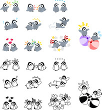 Icons Of Cute Penguin Babies