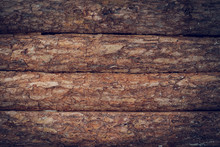 Wooden Wall Made From Wood Logs With Bark Texture