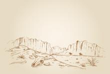 Hand Drawn Of Two Cowboys Raci...