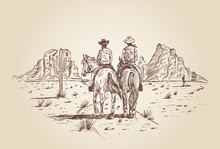 Hand Drawn Of Two Cowboys Riding Horses In Desert