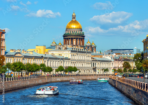 Obraz St Isaac's Cathedral across Moyka river, St Petersburg, Russia - fototapety do salonu