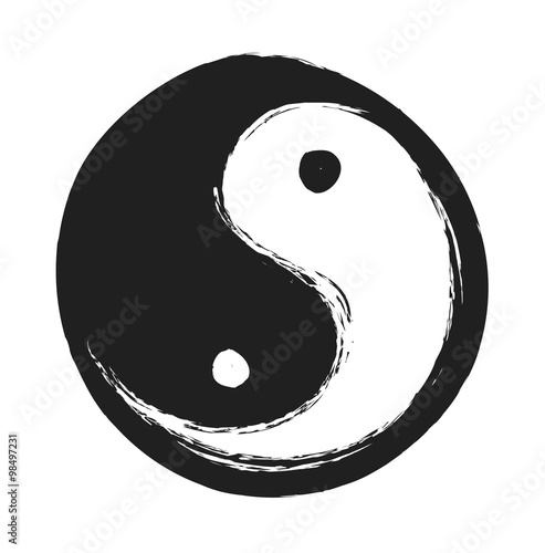 hand drawn ying yang symbol of harmony and balance, design element Fototapet