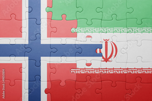 Photo  puzzle with the national flag of norway and iran