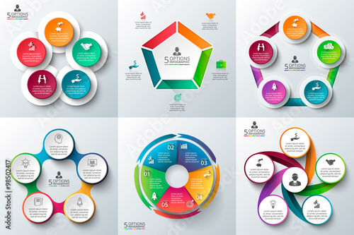 Photographie  Business infographic template set.