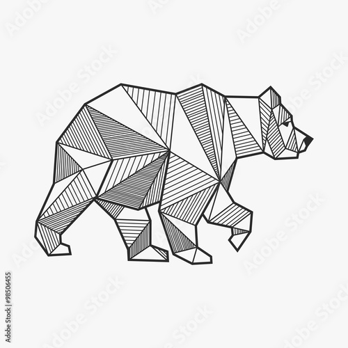 Canvas Print Abstract bear geometric