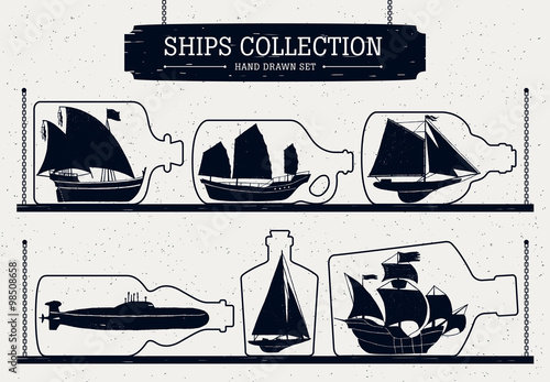 Photo  Hand drawn ship silhouettes set  in bottles.
