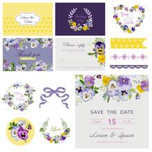 Scrapbook Design Elements - Wedding Flower Pansy Theme