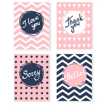 Vector Card With Hello, Thank You, I Love You, Sorry. Lettering And Pattern Of Circles And Stripes