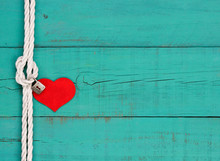 Blank Wood Sign With Rope Border And Red Heart