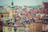 Old town in Warsaw, Poland. The Royal Castle and Sigismund's Col - 98516039