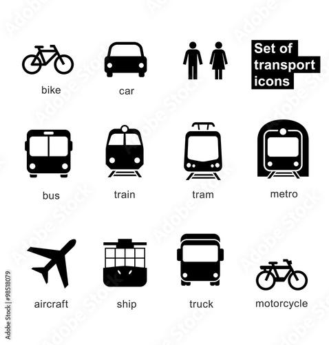 Fotografía  Set transport icons on white background. Vector elements