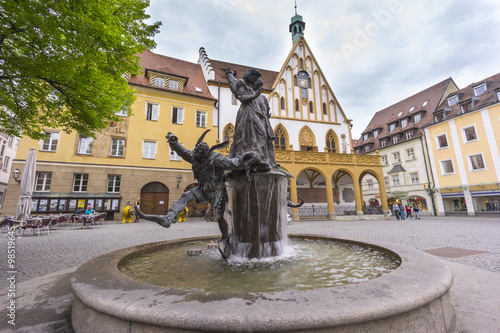 Street view of Amberg, a old medieval town in Bavaria, Germany. Wallpaper Mural