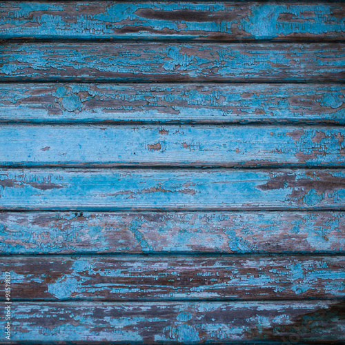 Valokuva  texture of wooden wall with shabby navy blue paint