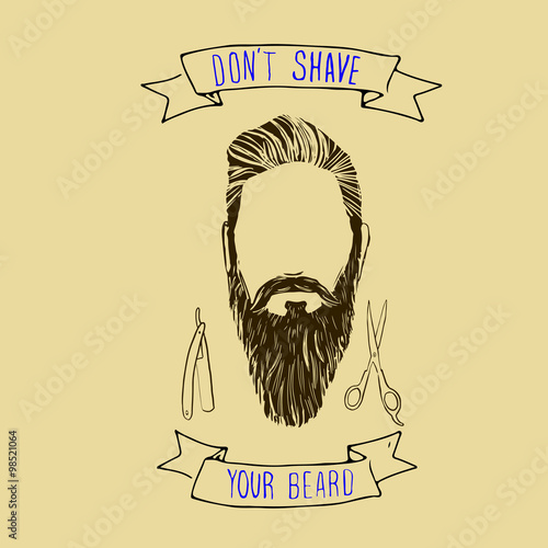 Vector hand drawn typography poster with bearded man's head Poster