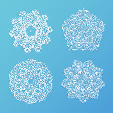 Set Of Ornamental Snowflakes. Indian Mandala Style. Element For Design. Round Lace. It Can Be Used For Decorating Of Invitations, Cards, Decoration. Christmas Vector Illustration