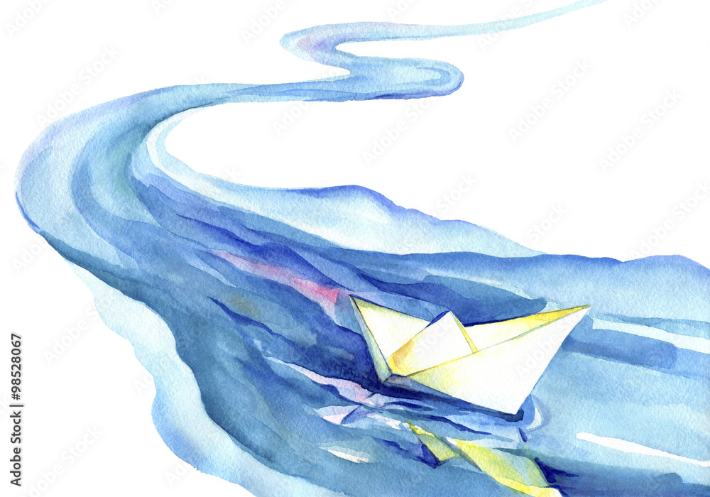 Fototapety, obrazy: White paper boat floating in the water. Watercolor painting of the river and ship on a white background.