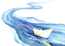 White Paper Boat Floating In T...