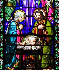 Naklejka Nativity Scene at Christmas in Montserrat Abbey