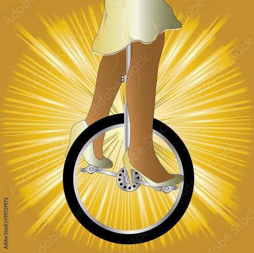 Fotobehang Fiets Unicycle On Golden Splash