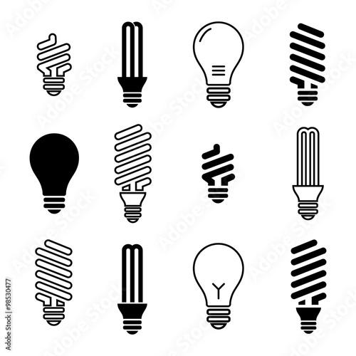 Light bulbs  Bulb icon set  Isolated on white background