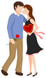 Vector illustration of a romantic couple being affectionate.