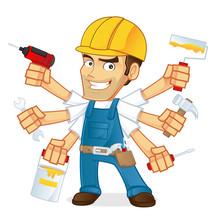 Cartoon Illustration Of A Handyman