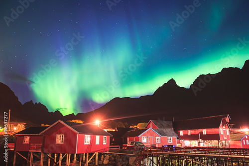 Beautiful picture of massive multicoloured vibrant Aurora Borealis, Aurora Polar Poster