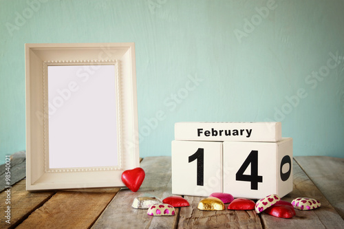 February 14th wooden vintage calendar with colorful heart