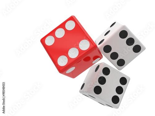 three dices on white плакат
