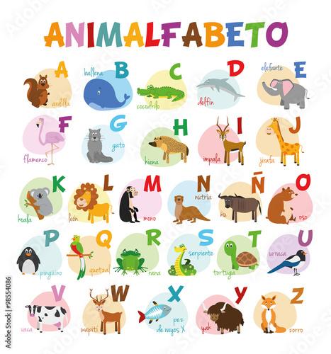 Ilustración de vector Alfabeto ilustrado con animales para niños. Abecedario español. Aprender a leer.
