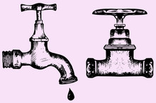 Water Tap, Doodle Style, Sketch Illustration