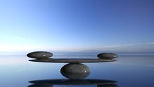 Balancing Zen Stones In Water ...