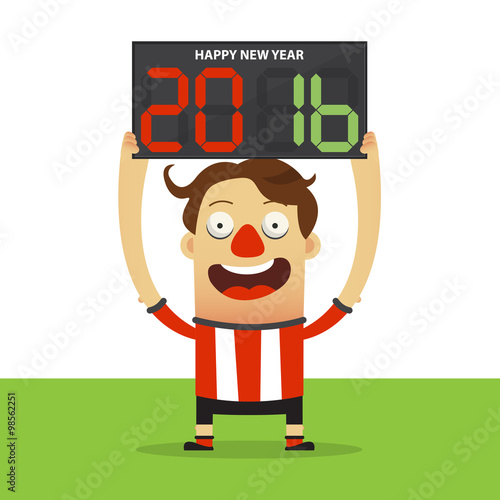 Happy Football Player Holding Substitution Board With Happy New Year