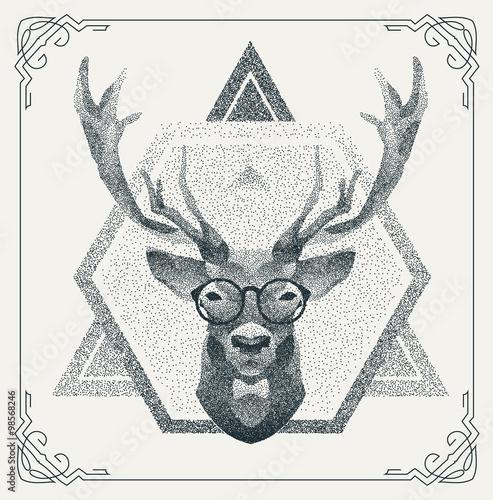Halftone hipster deer with black Dots. Vector Illustration.