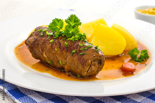 Fotografie, Obraz  Roulades beef on plate with potato, sauce