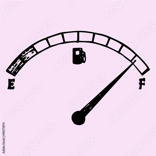fuel indicator, gas gauge (gas tank, gas gage, fuel gauge