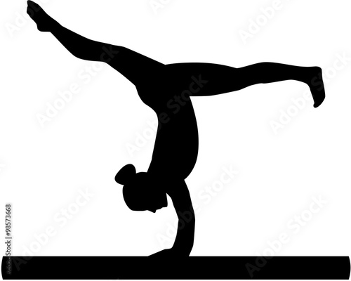 Woman exercise on balance beam Wallpaper Mural