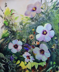 Fototapeta Popularne Watercolor painting of the beautiful flowers.