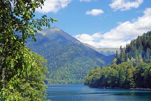 Lake Ritsa in mountains in Abkhazia. Canvas Print