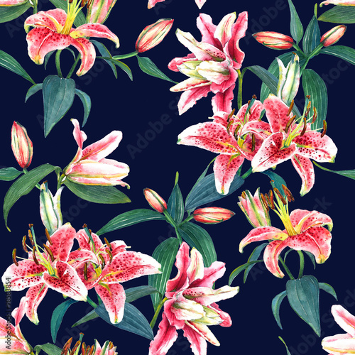 Cotton fabric Seamless floral pattern of exotic pink tropical lilies. Hand painted watercolor. Isolated on indigo blue background. Fabric texture.