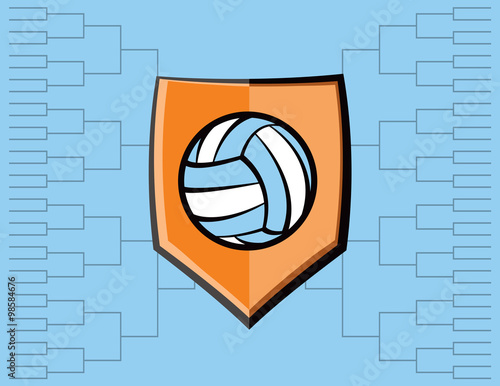 Volleyball Emblem and Tournament Background - 98584676