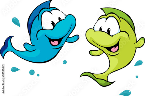 fototapeta na ścianę two funny fish isolated on white background - vector illustration