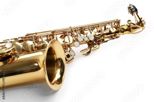 Carta da parati Golden saxophone isolated on white background, close up