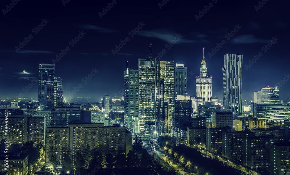 Fototapety, obrazy: Warsaw downtown at night