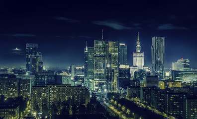 Fototapeta Miasto nocą Warsaw downtown at night