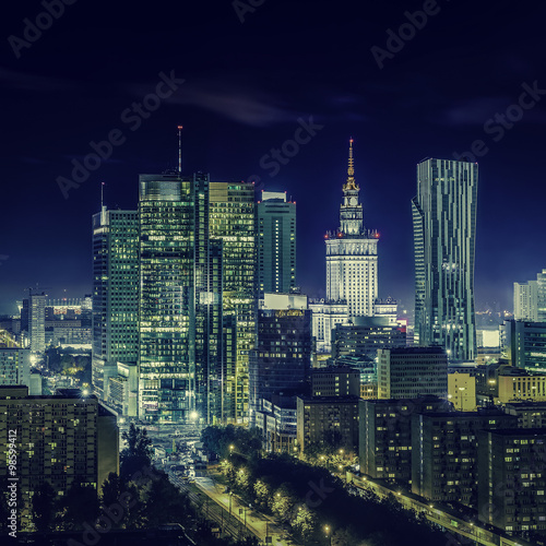 Photo Stands Kuala Lumpur Warsaw downtown at night