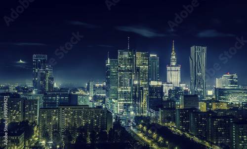 Warsaw downtown at night - 98599421