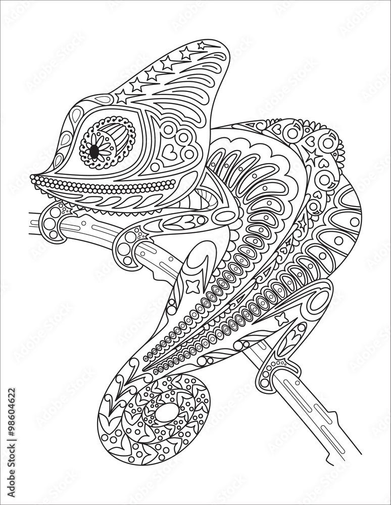 Monochrome Chameleon Coloring Page Black Over White Foto Poster