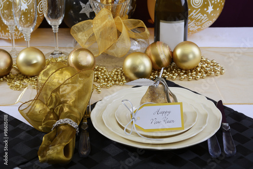 Photo  New Years Eve Dinner Table Setting.