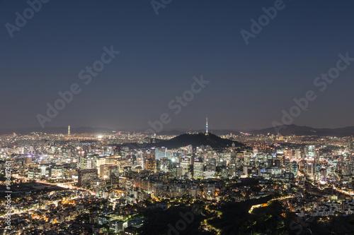Fotografia  Seoul skyline at night